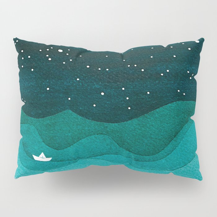 Starry Ocean, teal sailboat watercolor sea waves night Pillow Sham