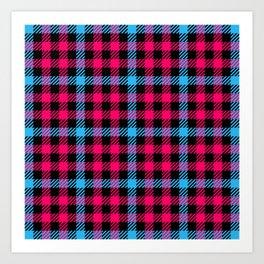 Hot Pink, Blue & Black Gingham Pattern Art Print