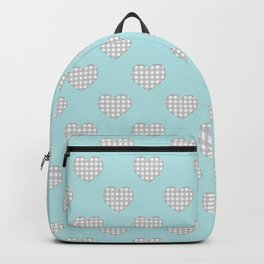 Gingham Hearts in Gray and White on Turquoise Backpack