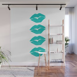 Four Turquoise Lips Wall Mural