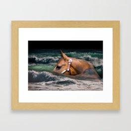 Horse ocean Framed Art Print