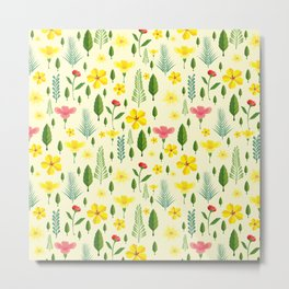 Tropical sunshine yellow pink green floral pattern Metal Print