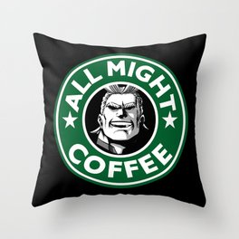 All Might Coffee Throw Pillow