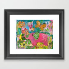 Amazing You Pink Elephant Framed Art Print