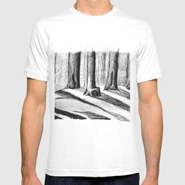 Trees Casting Shadows in the Woods T-shirt