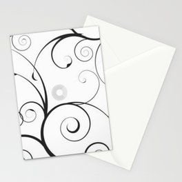 Black and Gray Swirls and Circles Stationery Cards