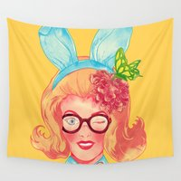 belle Wall Tapestries featuring Lapin Belle by choppre