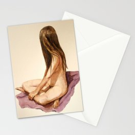 nude sitting woman watercolor painting Stationery Cards