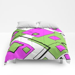 Pink And Green Diagonals Comforters