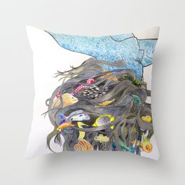 Water Based Life Form Throw Pillow