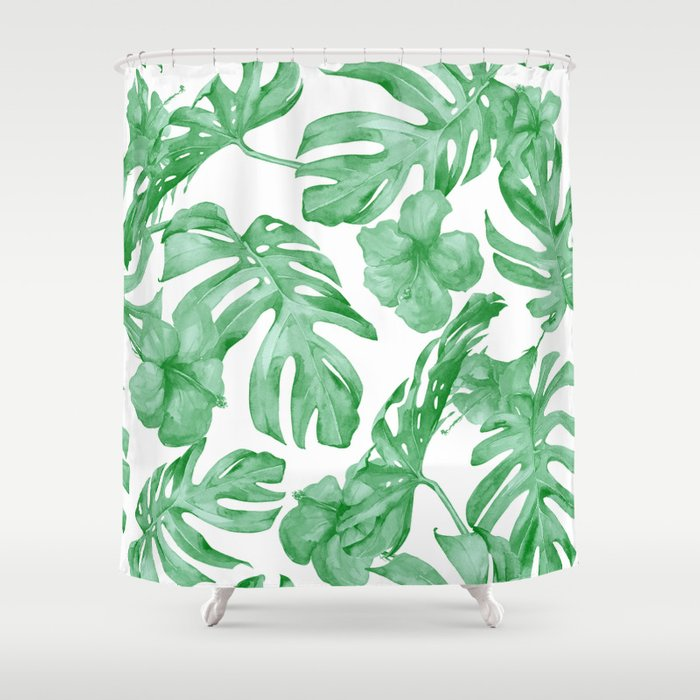 Tropical Island Leaves Green On White Shower Curtain