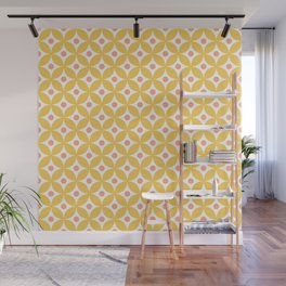 Yellow, coral and white elegant tile ornament pattern Wall Mural