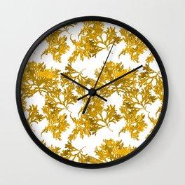 Ocre Seaweed Pattern Wall Clock