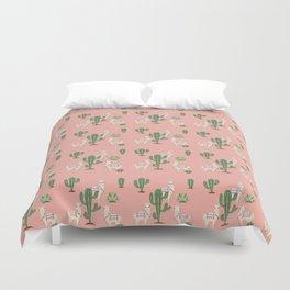 Alpaca with Cacti Duvet Cover