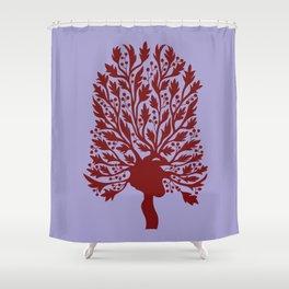 Skeleton Heart Hawthorn Tree Shower Curtain