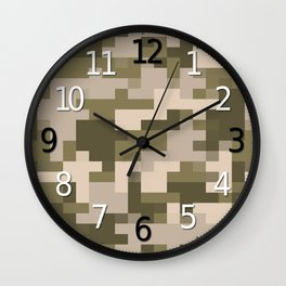 Army Camouflage Pixelated Pattern Light Brown Mountain Wall Clock