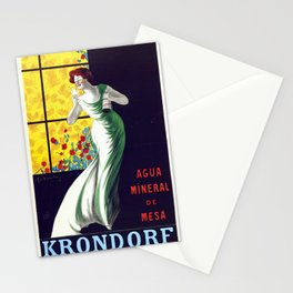 Poster vintage spanish mineral water Krondorf Stationery Cards