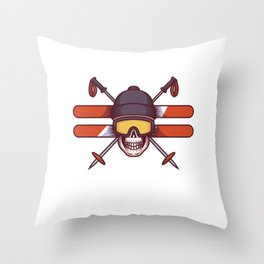 Skier - Never underestimate an old man on skis Throw Pillow
