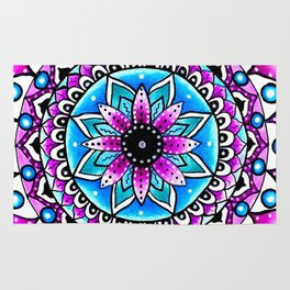 Mandala #2 Wall Tapestry Throw Pillow Duvet Cover Bright Vivid Blue Turquoise Pink Contempora Modern Rug