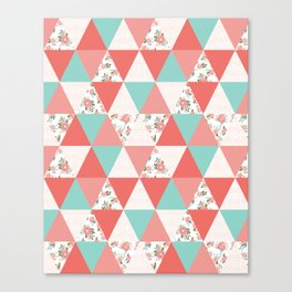 Triangle quilt pattern cute florals dots cheater quilt blanket quilter must have cute baby shower  Canvas Print