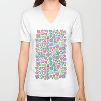 macaroon V-neck T-shirts featuring Macarons and flowers by Anna Alekseeva kostolom3000