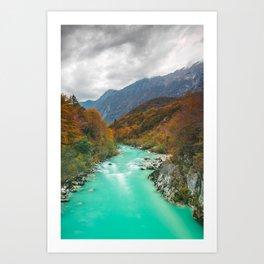 Magical river Soca cloudy autumn day Slovenia Art Print