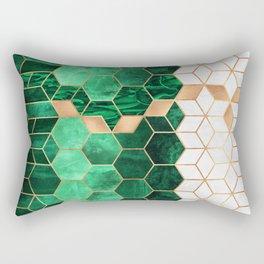 Emerald Cubes And Hexagons Rectangular Pillow