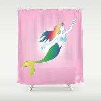mermaids Shower Curtains featuring Mermaids by Los Espada Art