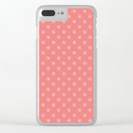 White on Coral Pink Snowflakes Clear iPhone Case
