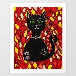 BLACK CAT & WAND Art Print