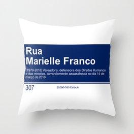 Marielle Franco - Street sign Rio de Janeiro Throw Pillow