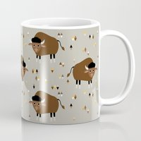 buffalo Mugs featuring Buffalo by Heleen van Buul