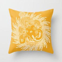 Ganesha Lineart Yellow White Throw Pillow