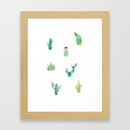 Summer pattern with cacti and yellow cats ! Framed Art Print