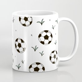 Fun grass and soccer ball sports illustration pattern Coffee Mug