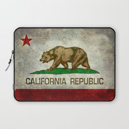Californian flag the Bear flag in retro grunge Laptop Sleeve