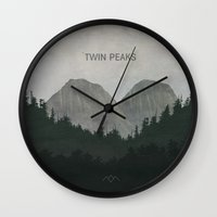 twin peaks Wall Clocks featuring Twin Peaks by avoid peril