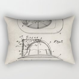 Firemans Helmet Patent - Fire Fighter Art - Antique Rectangular Pillow