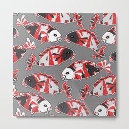 Koi Fish Gray and Orange Metal Print