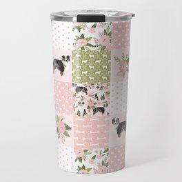 Australian Shepherd Patchwork - purple floral, flowers, dog, dogs, aussie dog, cute dogs, dog blanke Travel Mug