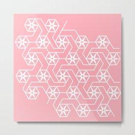 Candy Pink Geometric Flowers Metal Print