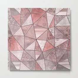 Soft Pink Coral Glamour Gemstone Triangles Metal Print