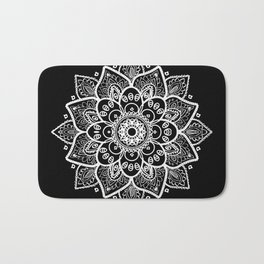 White Mandala On Black Bath Mat