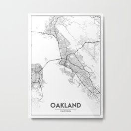 Minimal City Maps - Map Of Oakland, California, United States Metal Print