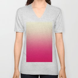 Trendy Coral Pink to Vintage White Ombre Gradient Unisex V-Neck