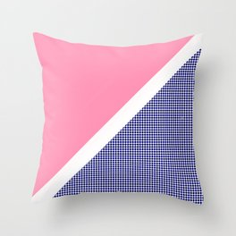 Pink Solid and Navy Dotted Throw Pillow