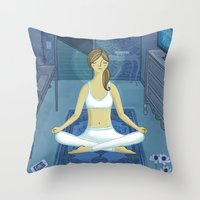 meditation Throw Pillows featuring Meditation by Anne Was Here