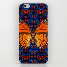 ORANGE BUTTERFLIES  & DARK BLUE ART PATTERN iPhone Skin