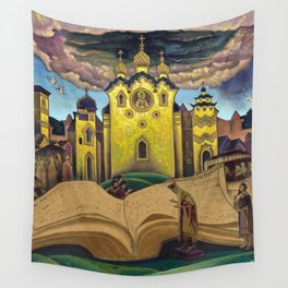 The Book of the Doves, magical realism Italian renaissance cityscape painting by Nicholas Roerich Wall Tapestry