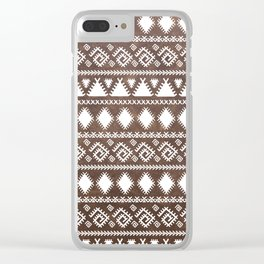 Vintage rustic brown leather white tribal pattern Clear iPhone Case